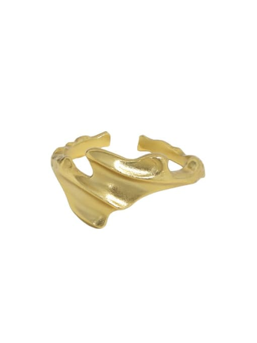 18K gold [12 Adjustable] 925 Sterling Silver Irregular Vintage Band Ring